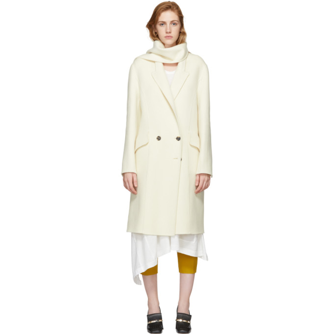 Image of JW Anderson Off-White Wool Scarf Coat
