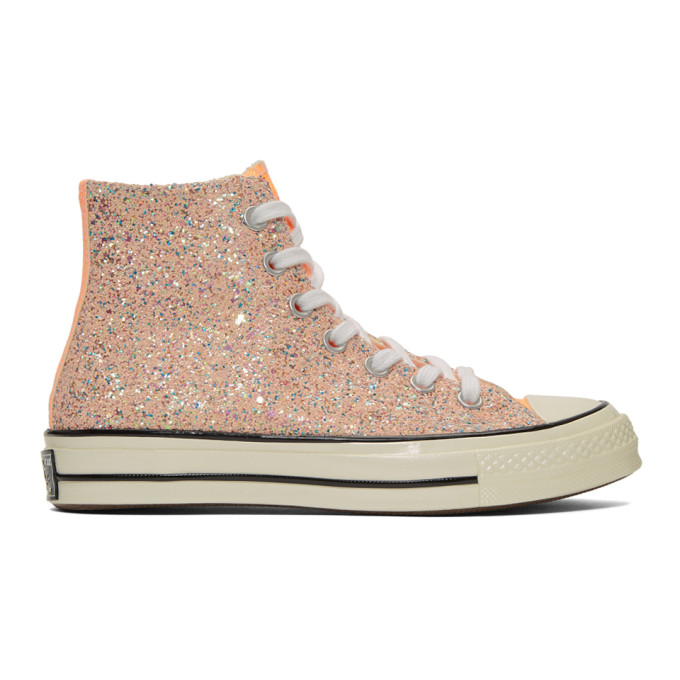JW Anderson Baskets orange Glitter Chuck 70 High edition Converse