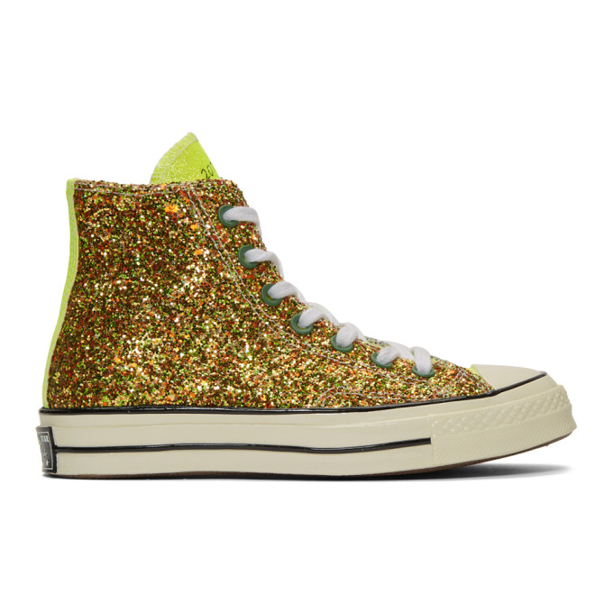 JW ANDERSON | JW Anderson Gold And Silver Converse Edition Glitter Chuck 70 High Sneakers | Goxip