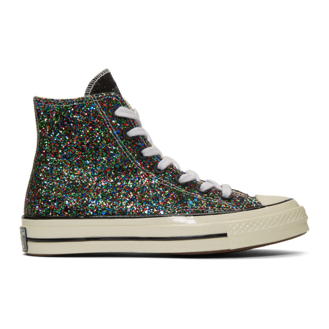JW ANDERSON | JW Anderson Black And White Converse Edition Glitter Chuck 70 High Sneakers | Goxip