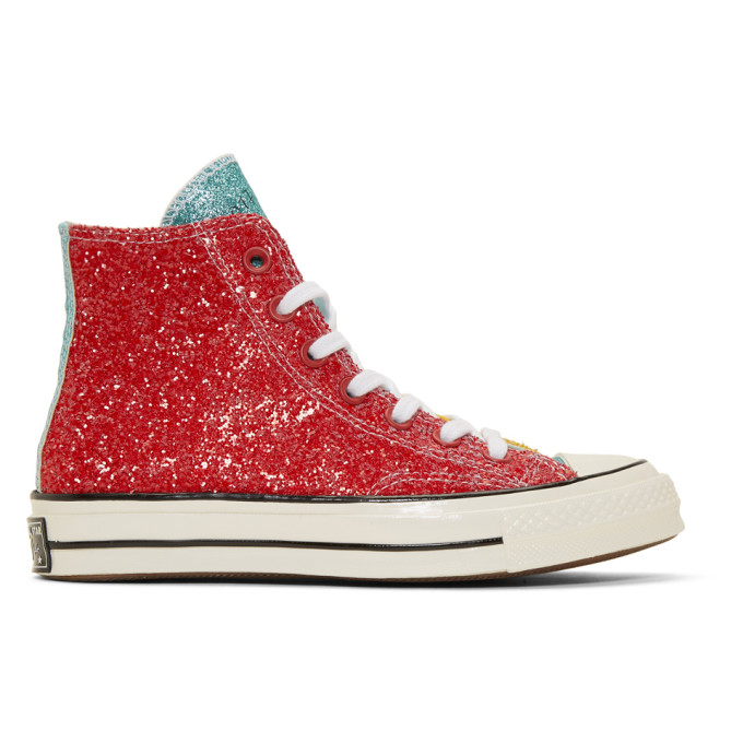 JW Anderson Baskets rouges Glitter Chuck 70 High-Top edition Converse