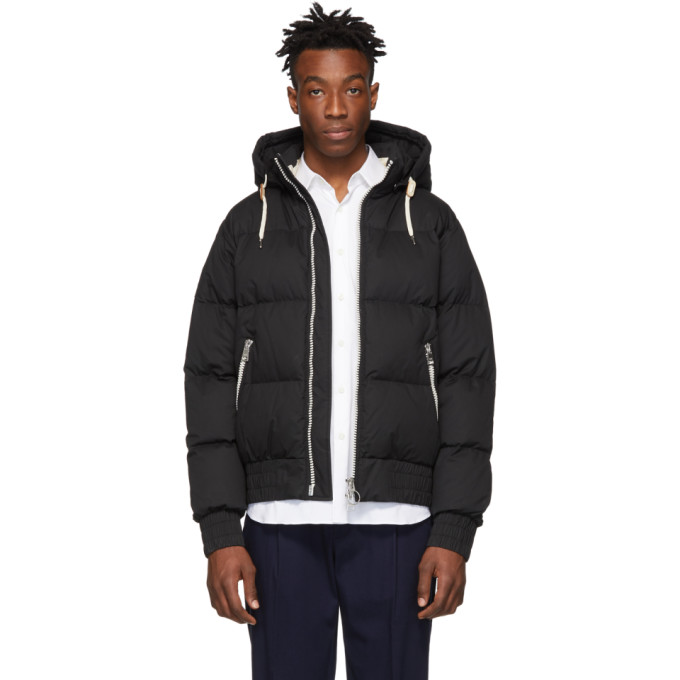 Image of AMI Alexandre Mattiussi Black Down Hooded Jacket