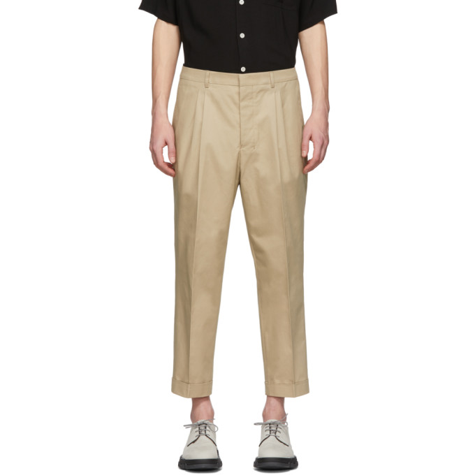 Image of AMI Alexandre Mattiussi Beige Twill Carrot-Fit Trousers