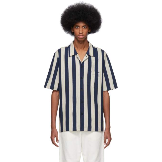 Image of AMI Alexandre Mattiussi Beige & Navy Striped Shirt
