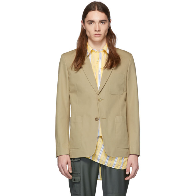 Image of AMI Alexandre Mattiussi Beige Two-Button Blazer