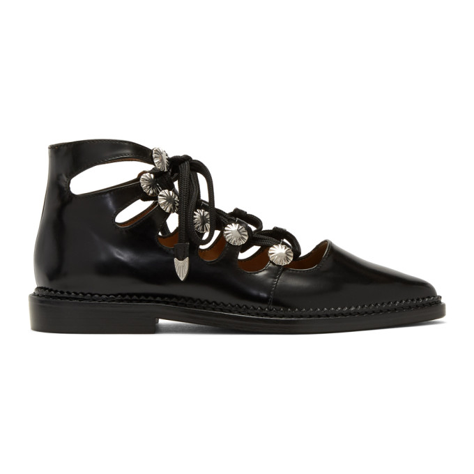 Toga Pulla Black Lace-Up Oxfords