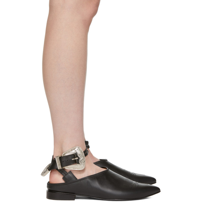 Toga Pulla Black Buckle Slippers