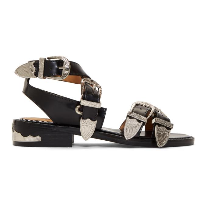 Toga Pulla Black Four Buckle Western Sandals