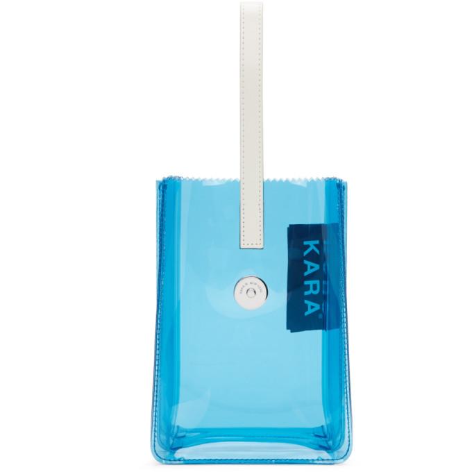 Kara Blue PVC Pinch Wristlet Clutch