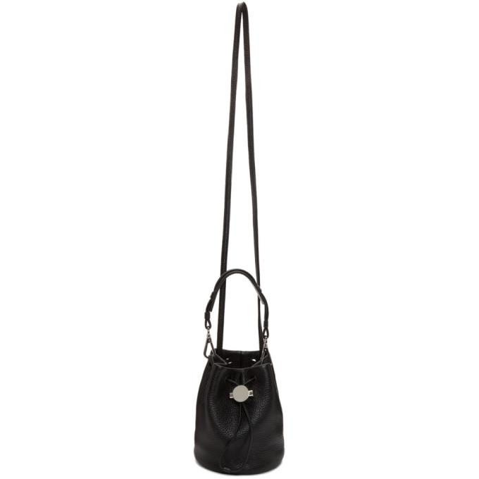 KARA Baby Drawcord Leather Bucket Bag - Black