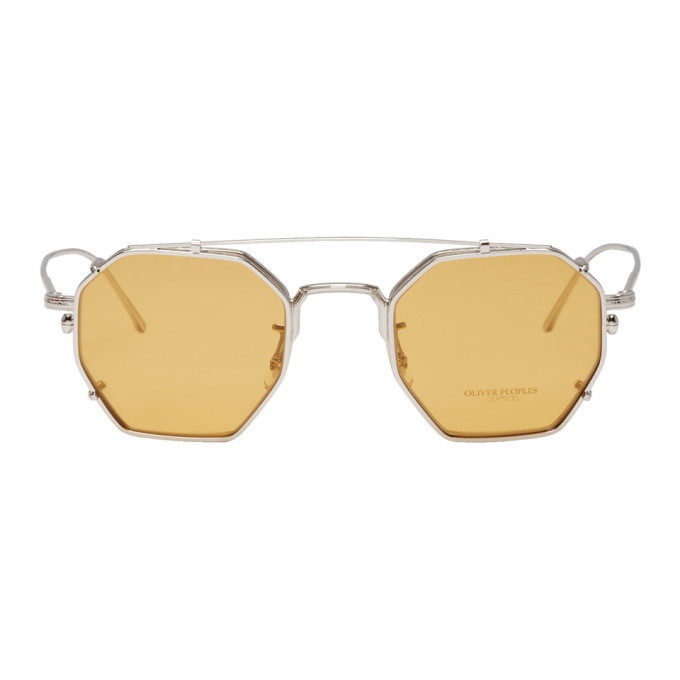 OLIVER PEOPLES | Oliver Peoples Silver and Yellow Assouline Edition Octagon Clip-On Sunglasses | Goxip