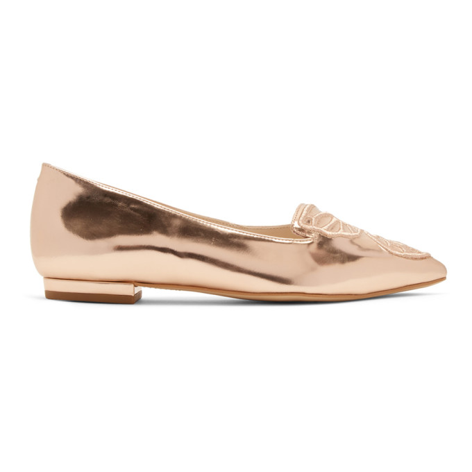 Sophia Webster Rose Gold Bibi Butterfly Flats