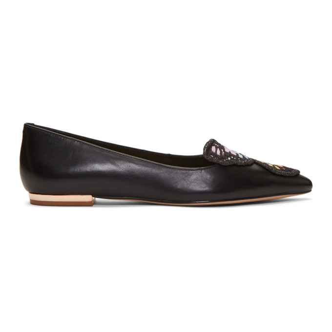 Image of Sophia Webster Black Bibi Butterfly Embroidery Flats