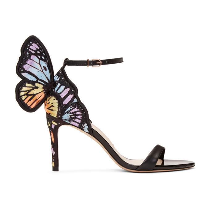 Image of Sophia Webster Black Chiara Embroidery Mid Sandals