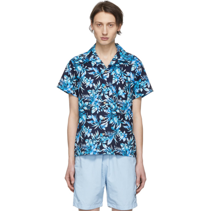 Naked And Famous  NAKED AND FAMOUS DENIM NAVY AND BLUE BIG TROPICAL ALOHA SHIRT