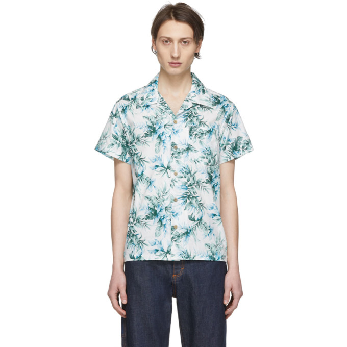 Naked And Famous  NAKED AND FAMOUS DENIM WHITE AND GREEN BIG TROPICAL ALOHA SHIRT