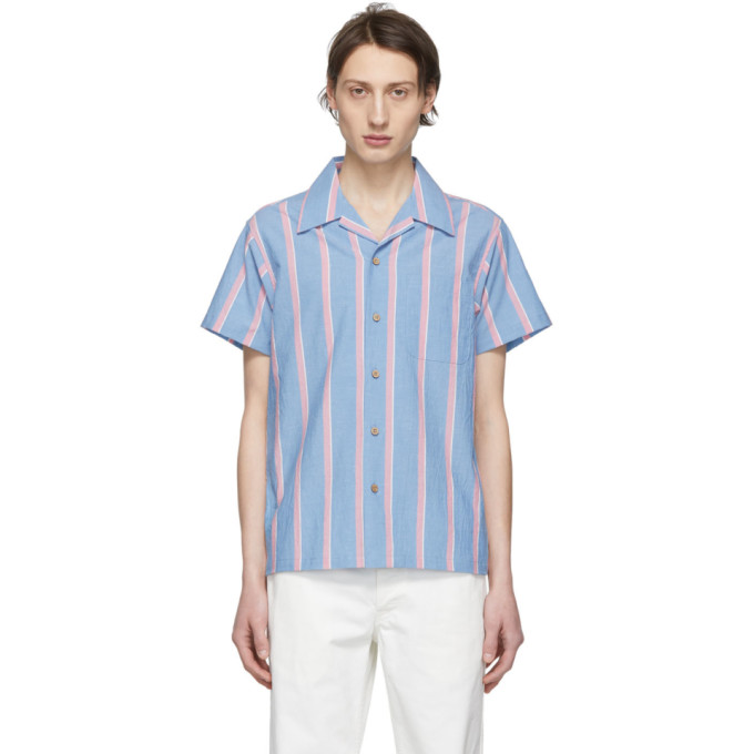 Naked And Famous  NAKED AND FAMOUS DENIM BLUE AND PINK CHAMBRAY SLUB STRIPE ALOHA SHIRT