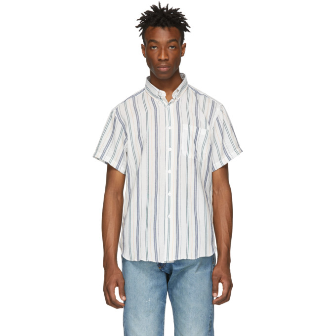 Naked And Famous T-shirts NAKED AND FAMOUS DENIM WHITE STRIPE BOUCLE EASY SHIRT