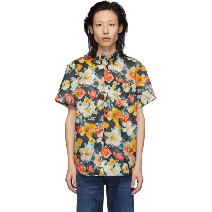 Naked And Famous  NAKED AND FAMOUS DENIM ORANGE FLOWER PAINTING EASY SHIRT