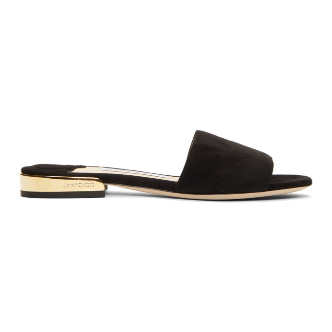 JIMMY CHOO | Jimmy Choo Black Suede Joni Flat Sandals | Goxip