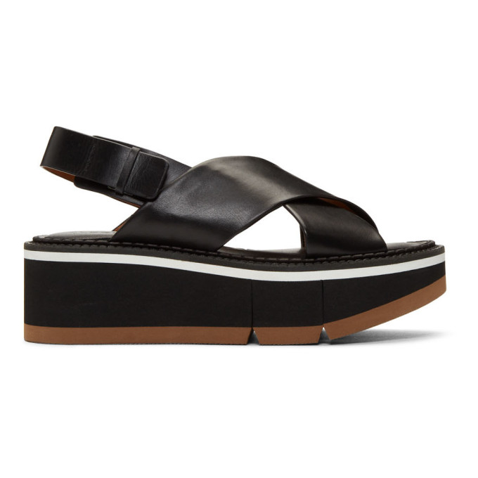 Image of Clergerie Black Anae Platform Sandals