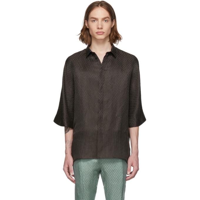 Haider Ackermann Chemise en soie brune Kimono Long