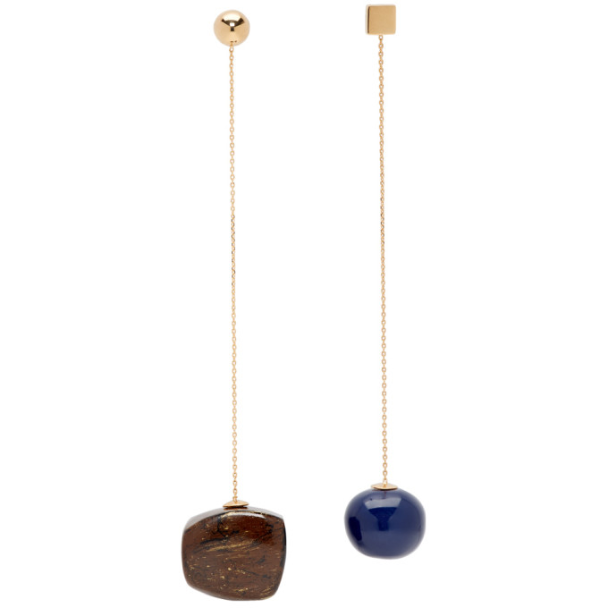 Jacquemus Navy & Brown 'Le Boucle Dalila' Earrings