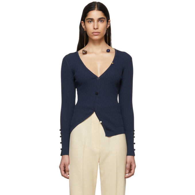 JACQUEMUS Ribbed Cardigan in Navy