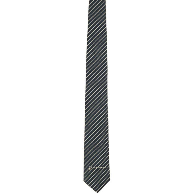 Jacquemus Cravate bleu marine et blanche La Cravate