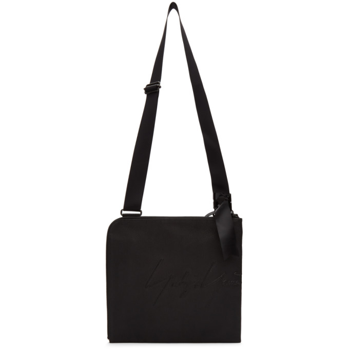 Yohji Yamamoto Bags YOHJI YAMAMOTO BLACK LOGO MESSENGER BAG