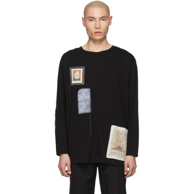 Yohji Yamamoto T-shirts YOHJI YAMAMOTO BLACK PATCHED LONG SLEEVE T-SHIRT