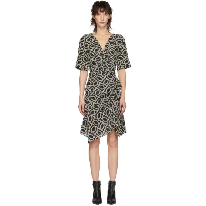 ISABEL MARANT Arodie Silk Dress in Bkec Blk/Ec