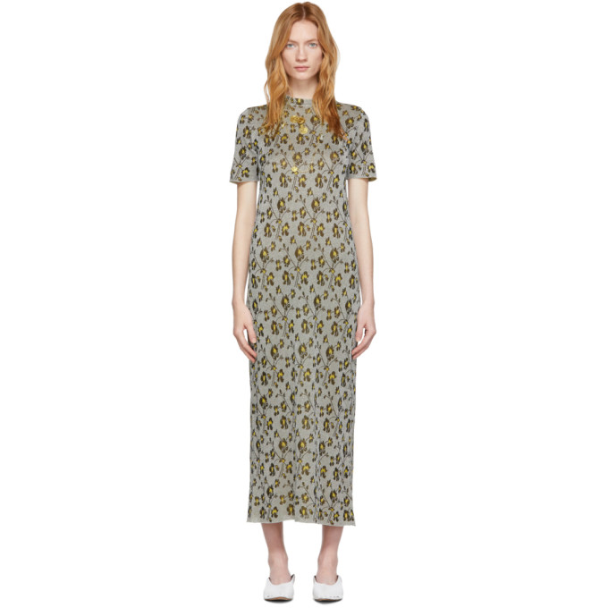 Paco Rabanne Dresses PACO RABANNE SILVER FLORAL LONG DRESS