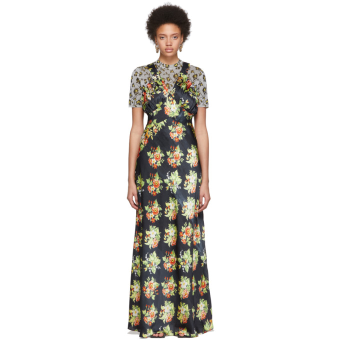 Paco Rabanne Floral-pattern Woven Maxi Dress In V001 Black