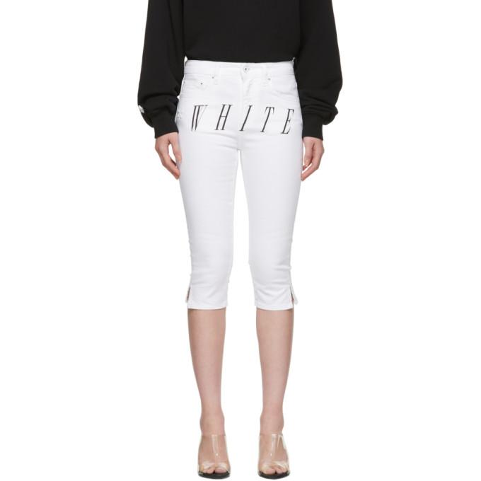 Off-White White Denim Cropped Capri Shorts