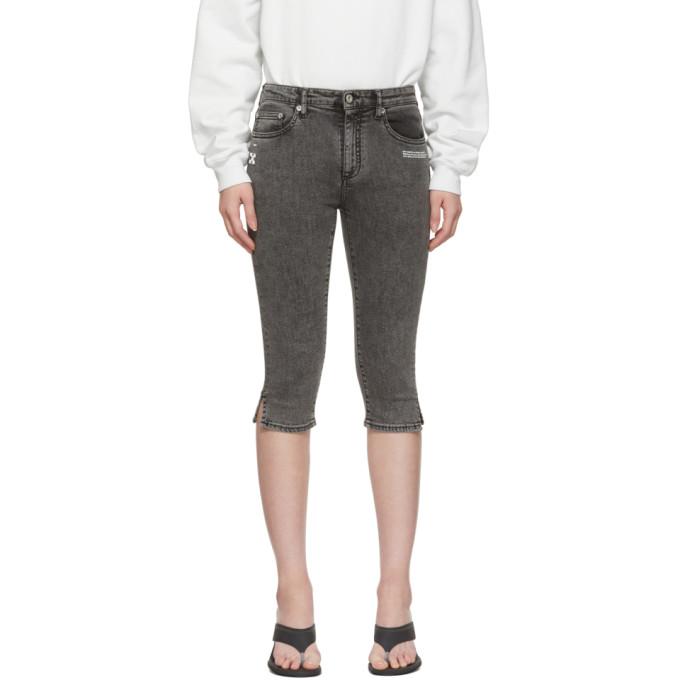 Off-White Black Denim Cropped Capri Shorts