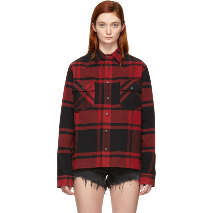 0c6d3f0b65a1 Off White Black and Red Flannel Stencil Shirt