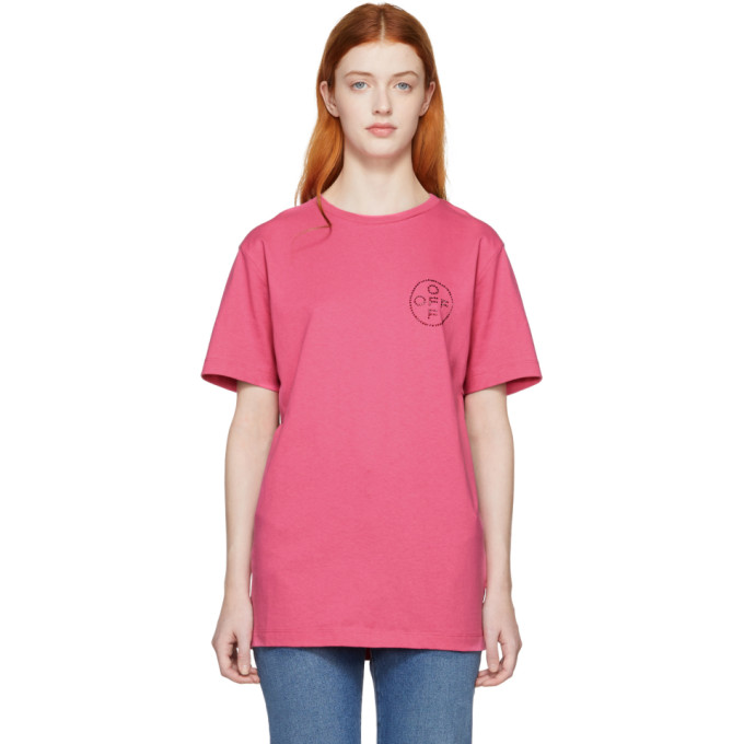 Off White Ssense Exclusive Pink Cross Slim T Shirt