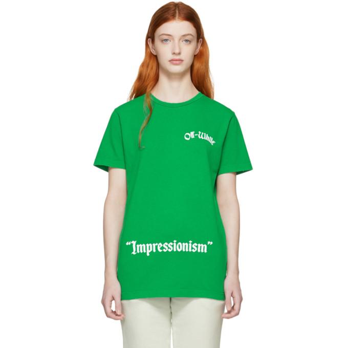Off White Green College Slim T Shirt