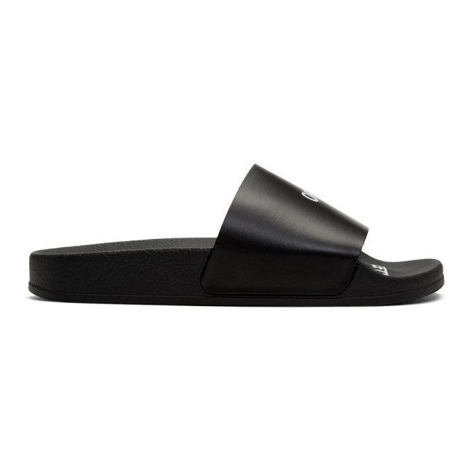 Off-White SSENSE Exclusive Black Logo Pool Slides