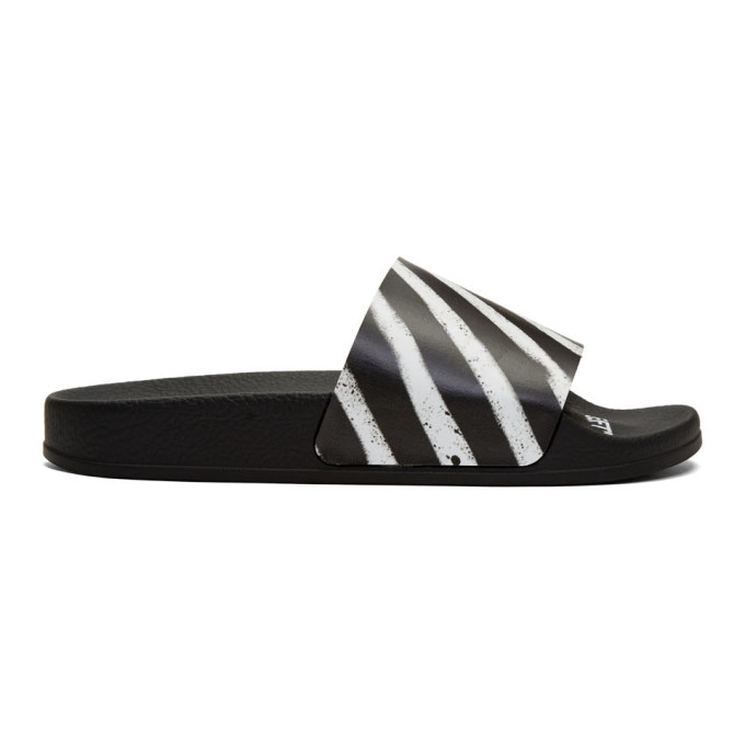 Off-White SSENSE Exclusive Black Spray Pool Slides