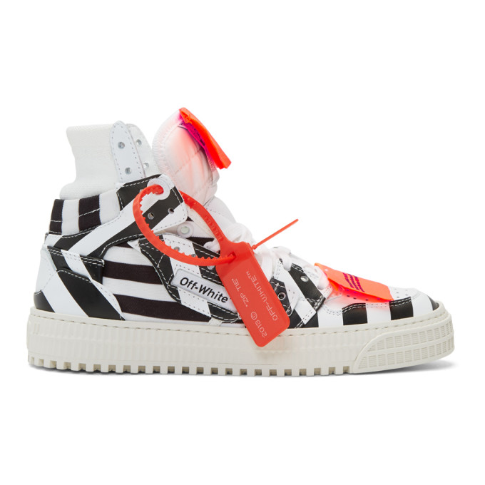 Off-White White and Black Striped 3.0 Off-Court Sneakers