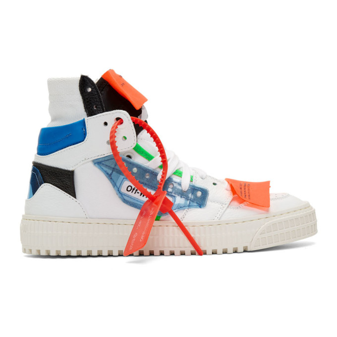 Off-White Off-Court Logo-Embellished Canvas And Leather High-Top Sneakers In White/Blue