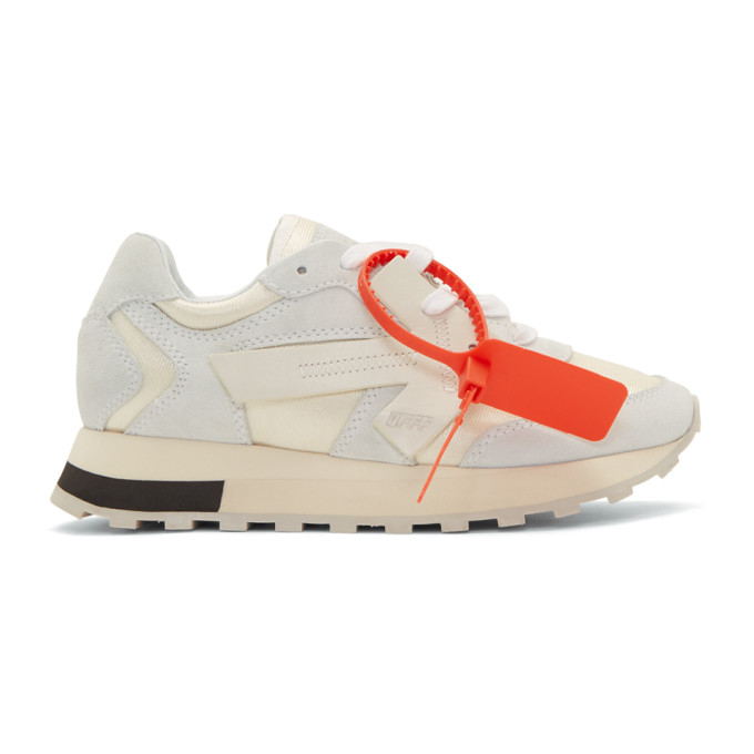 Off-White White Hg Runner Leather And Suede Low-Top Sneakers