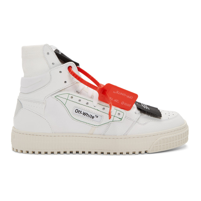 """Off-White """"Off-Court"""" 3.0 White Leather Hi-Top Trainers"""