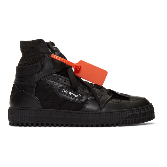c528c80c88f20e Off-Court Full-Grain Leather And Canvas High-Top Sneakers in 1000 Black