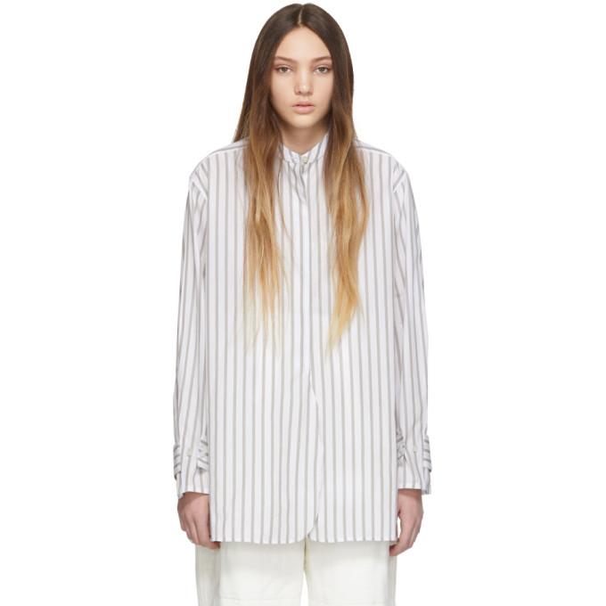 Studio Nicholson T-shirts STUDIO NICHOLSON WHITE AND KHAKI STRIPE VOLUME SHIRT
