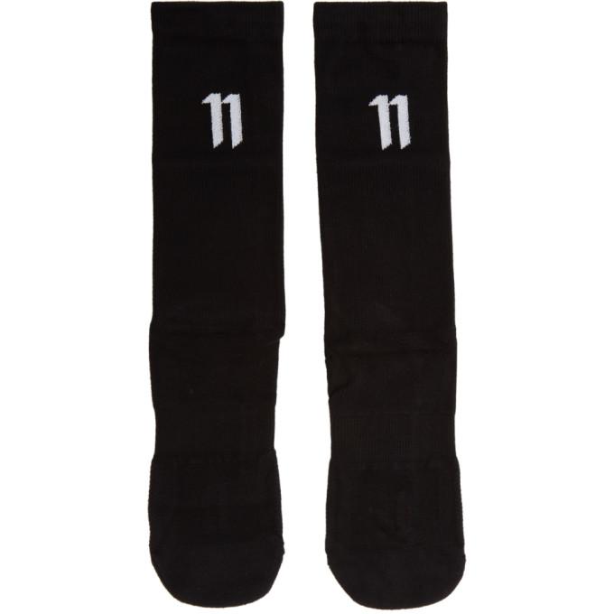 Image of 11 by Boris Bidjan Saberi Three-Pack Black Bamboo Logo Socks