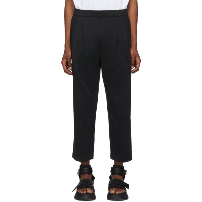 Image of Diet Butcher Slim Skin Black 2 Tuck Jersey Trousers