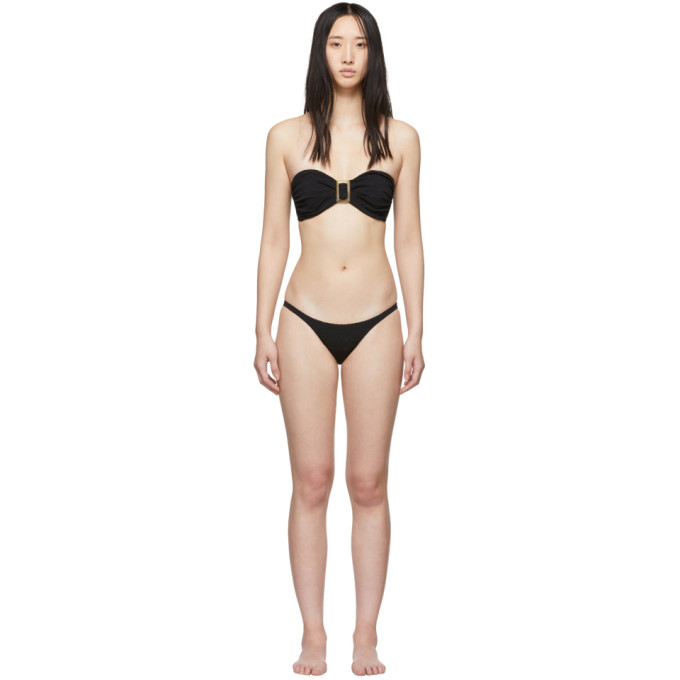 Lisa Marie Fernandez Bikini noir Buckle Bandeau